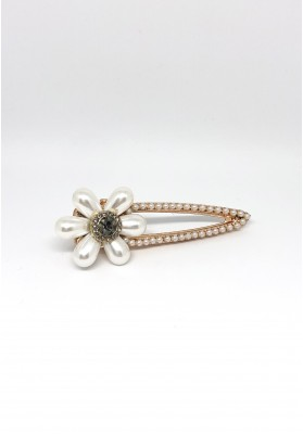 Pearl Flower With Stone Barrets Hair Clips White