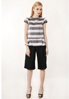 Donatella Stripe Top Black