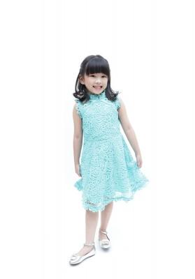 Daisy Lace Cheongsam Dress Green
