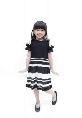 Charise Pleated Dress Black