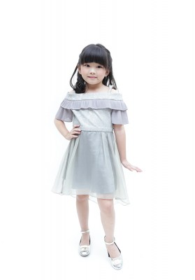 Leia Off Shoulder Dress Grey