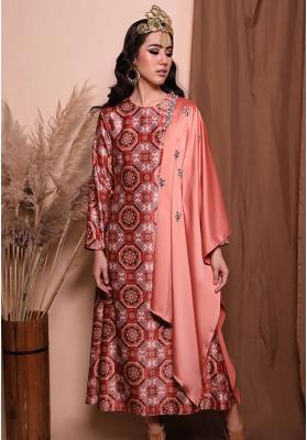 Nahla Print Long Dress Peach