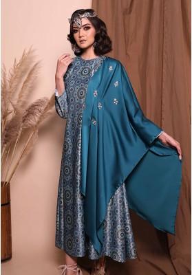 Nahla Print Long Dress Tosca